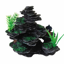 Aquarium Fish Tank Ornament Decoration - Small Rocks with Plastic Plants