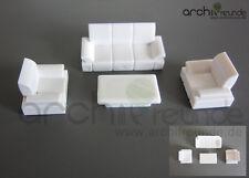 3er Set Modell Sofa Set mit Tisch für Modellbau 1:50, Modelleisenbahn Spur 0