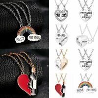 Fashion Best Friend Heart Rhinestone 2 Pendants Necklace Bff Friendship Gifts