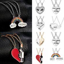 Fashion Best Friend Heart Rhinestone 2 Pendants Necklace Bff Friendship Gifts