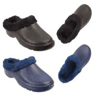 Mens Fur Lined Clogs Slip On Warm Cosy Winter Sandals Garden Shoes Slippers Mule