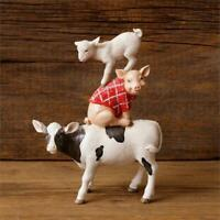 New Primitive  LARGE COW PIG SHEEP Stacked Farm Animal Figurine Christmas Winter