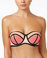 Bar III Whip It Good Women's Bikini Top Color Block Pink
