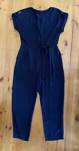 Zara Basic Navy Playsuit Jumpsuit With Roll Cuff Sleeves & Side Tie Size L