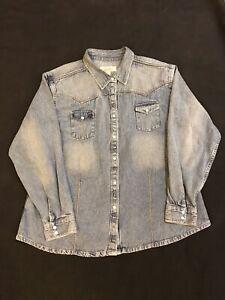 Cabella's Button Up Shirt Womens-Sz.XL-Cotton-L Blue Denim-L Sleeve-Pearl Snaps