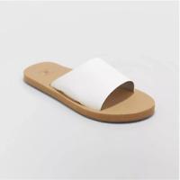 Shade & Shore Women's Annalise Asymmetrical Slide Sandals, White, US 9, NWD/NWOT