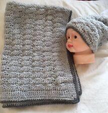 Handmade Crochet Shell Stitch Textured Baby Blanket & Beanie Set Grey