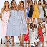 UK Womens Summer Holiday Button Through Ladies Long Smock Sundress Size 6 - 20
