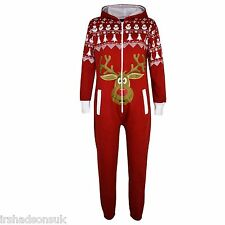 Kids Girls Boys Novelty Christmas Reindeer Rudolph Snowman Print Onesie Jumpsuit Red 11-12 Years
