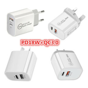 18W PD +USB Type C Fast Charging Wall Plug Charger Adapter For iPhone 11 Samsung