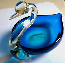 "MuranoStyle Cobalt-Blue Clear Art Glass Swan 7"" L, 4.5"" W Sweet Candy Dish Bowl"