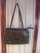 Beautiful Vintage Brown Eel Skin Double Handled Zippered Handbag/Purse