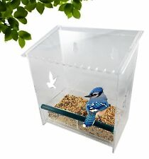 Acrylic Clear Window Bird Feeder, Removable Feed Tray, Water Drain Holes