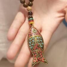 Ethnic Style Handmade Necklace Buddhist Mala Wood Beads Fish Pendant Necklace