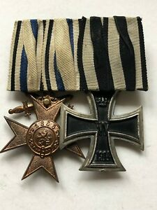 MEDAL WW1 GERMAN GROUP OF 3 - ✠ IRON CROSS 2ND CLASS + BAYERN MVK 3RD /SWORDS ✠