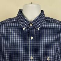 Nordstrom Wrinkle Free Trim Fit Blue Check Mens Dress Button Shirt Size Large L