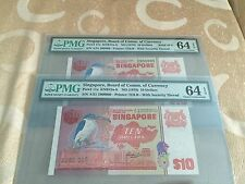 2X 1976 Singapore Bird $10 note .Solid 9 & 1 Million.Consecutive PMG 64 EPQ