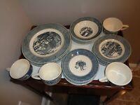 Vintage Currier & Ives Blue 20 Pcs Dinnerware Set 5 Pcs Place Setting Service 4