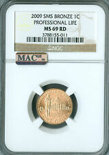 2009 CENT PROFESSIONAL NGC MAC MS69 RED SMS PQ 95% COPPER FINEST SPOTLESS *