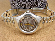 BEAUTIFUL BRIGHTON SILVER/GOLD/CRYSTAL BLOOMINGTON HEARTS WATCH ~NEW IN TIN $125