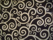 BLOOMCRAFT Screen Print Upholstery Fabric Black Cream Klimt Swirls 12Yrds +