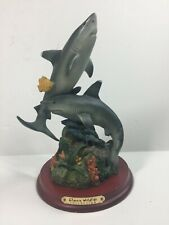 New ListingGreat White Sharks swimming over coral w/ fish Ceramic Porcelain Statue Figurine