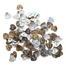 Lot de 100 Perles Bouton en Nacre Coquillage Coeur 15mm D1F4