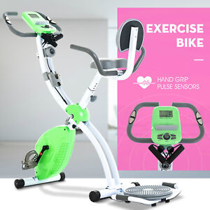 Foldable Stationary Upright Exercise Bike Cardio Workout Cycling Magnetic Green