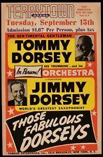1953 Dorsey Brothers Cardboard Concert Poster, Terrytown, Nebraska, 14 x 21.75