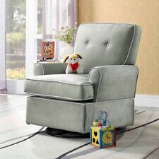 Baby & Mother Nursing Chair Soft Relax Tinsley Swivel Glider Rocker Nursery Gray
