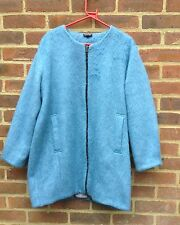 Topshop Mid Blue Fluffy Teddy Collarless Coat Cocoon Shape Size 16 On Trend