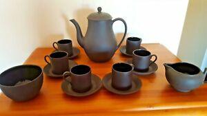 WEDGWOOD BLACK BASALT COFFEE SET