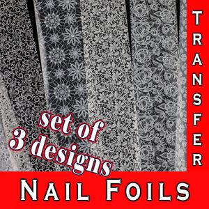Nail Art Foils Transfer Sticker Paper White Lace Designs Ornaments Warps Decal