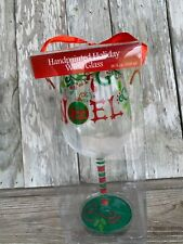 """Painted Wine Goblet """"NOEL""""  Red & Green Holiday/Christmas New In Box"""