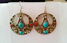 NEPALESE TURQUISE CORAL SILVER EARRINGS