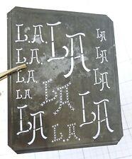 """LA L A monogram stencil embroidery antique 5"""" LARGE metal initials letter sheet"""