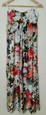 Forever New rose floral print silk strapless maxi dress fully lined Sz 8 EUC