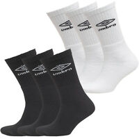 Mens Umbro Three Pack Crew Sports Socks White Black Casual Socks