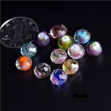 10Pcs Mixed Colours Faceted Rondelle Flower Lampwork Glass Loose Beads 12MM