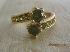 Yellow Gold Filled  Ring with Green Swar Crystals - Size 8