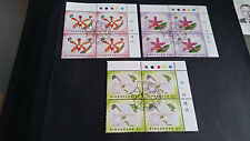 SINGAPORE 1991 SG 660-662 ORCHID BLOCK OF 4 1ST DAY OF ISSUE STAMPED
