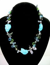 """Genuine TURQUOISE STONE Abalone Shell Glass Teardrop Beads NECKLACE Vintage 18"""""""