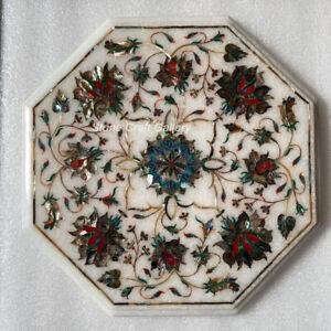 """12"""" Marble Side corner table top semi precious stones pietradura inlay work"""