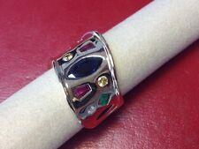 Ladies Multi Colored Stone & Diamond Ring in 18k Yellow Gold