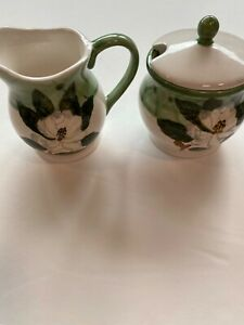 Magnolia Flower Creamer and Sugar Bowl, Light Green at top of each China,Great