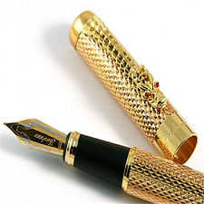 New JINHAO 1200 Executive Golden Broad Nib Fountain Pen Dragon Clip Gift
