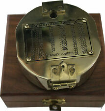 "Solid Brass Nautical 2"" Brunton Compass in Wood Box- STANLEY LONDON"