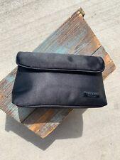 Chanel Parfume Black Sateen Flap Magnetic Closure Makeup Travel Bag