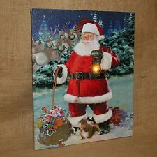 Lighted Canvas Santa holding Toy Sack Reindeer Christmas Winter Wall Decoration