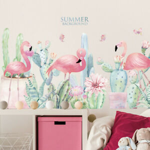 DIY Pink Flamingo Cactus PVC Vinyl Removable Nursery Mural Decal Wall Sticker